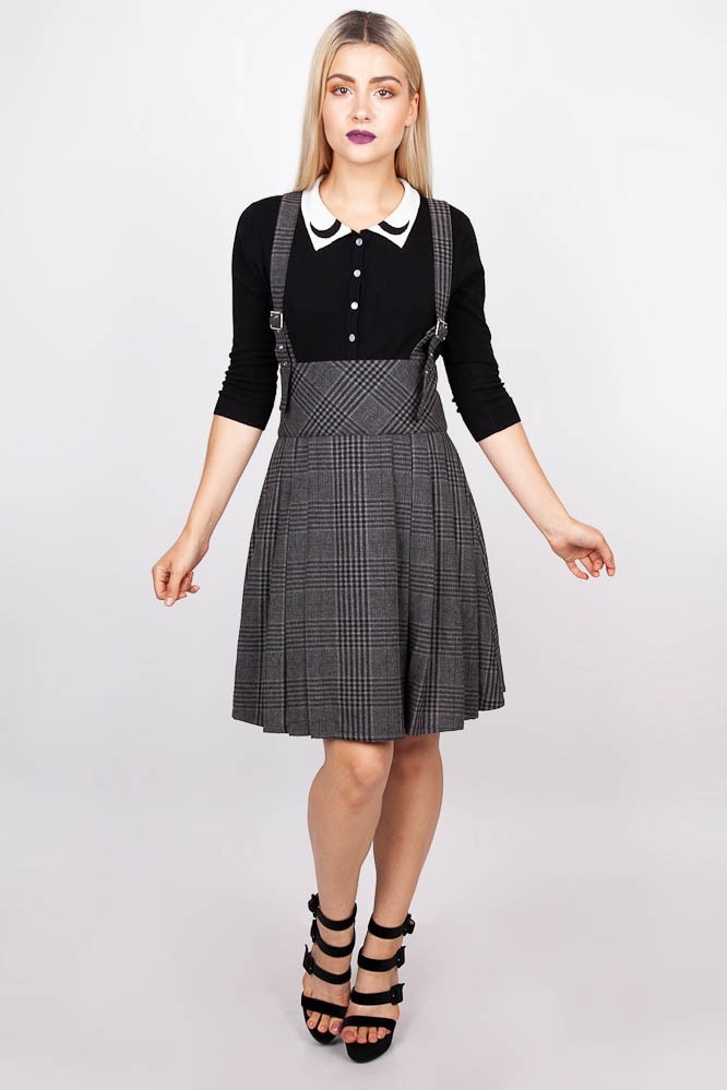 Rok grey Days, high waisted, grijze tartan