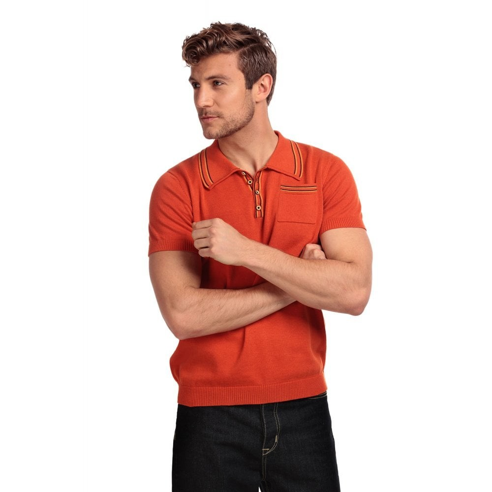 Polo Pablo, effen met knopen en borstzakje, oranje