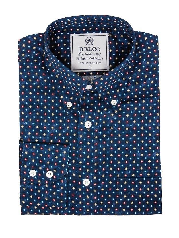 Overhemd met lange mouw, gekleurde diamantprint, navy