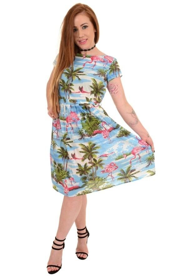 Jurk 50s hawaiian flamingo tea dress