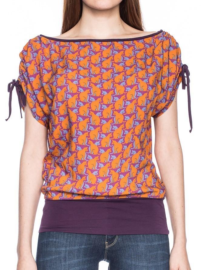 Shirt Mona, oranje lila retro katten print
