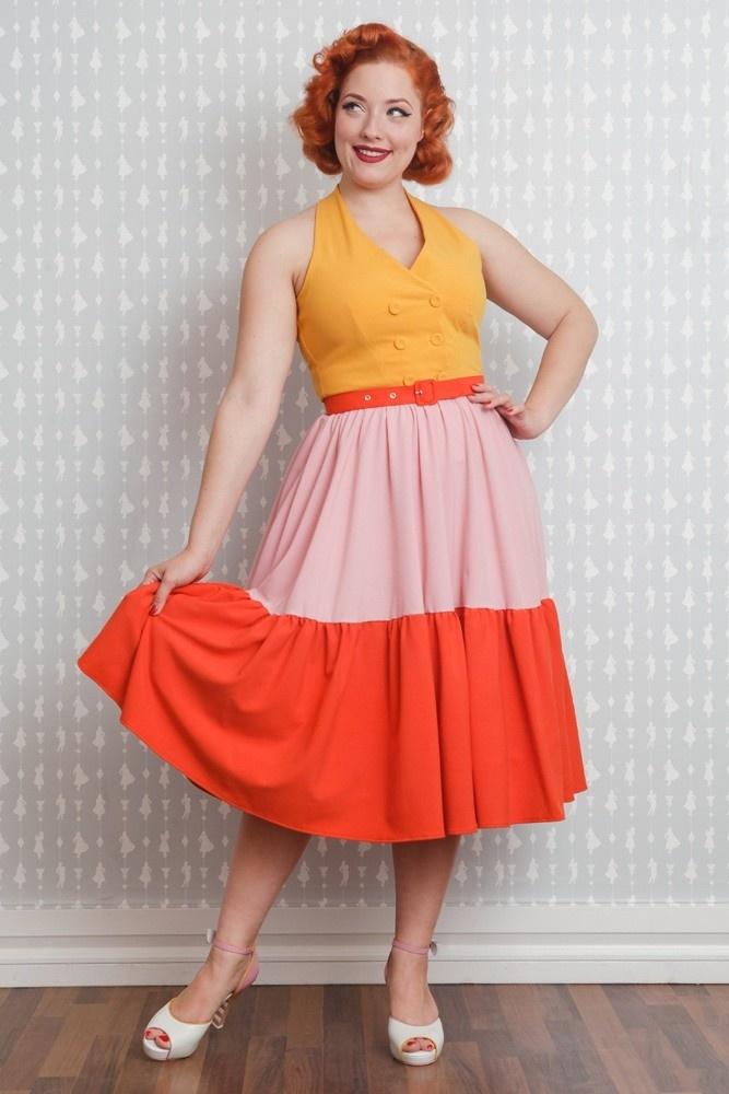 Jurk Lorena mouwloos swingmodel in geel, zachtroze en oranje