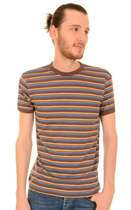 T-shirt, retro bruin blauw gestreept