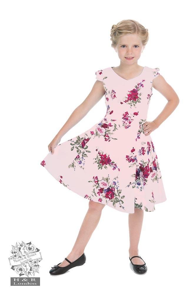 Kinderjurk, Royal ballet roze met bloemen