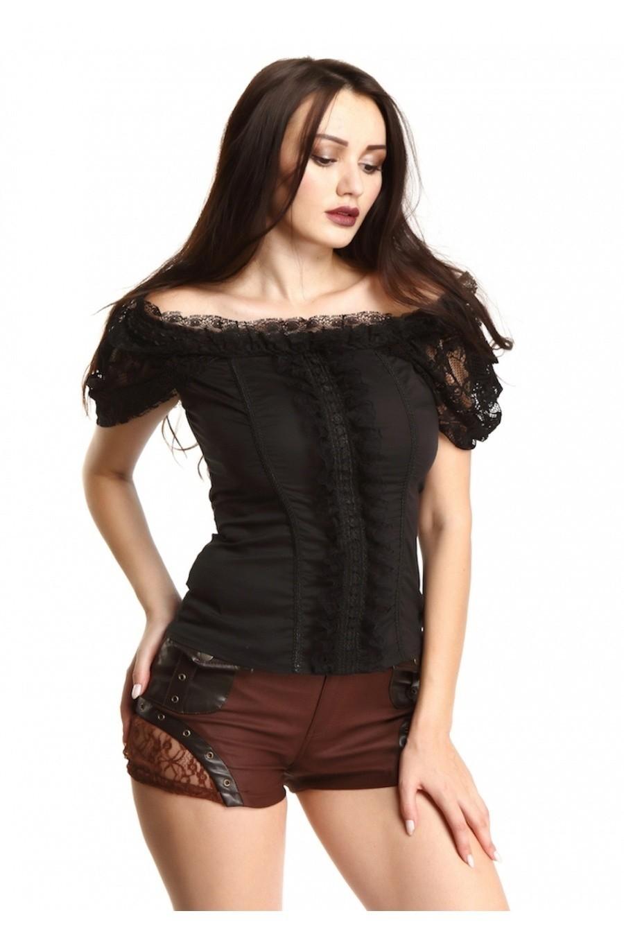 Steampunk gothic top van kant zwart