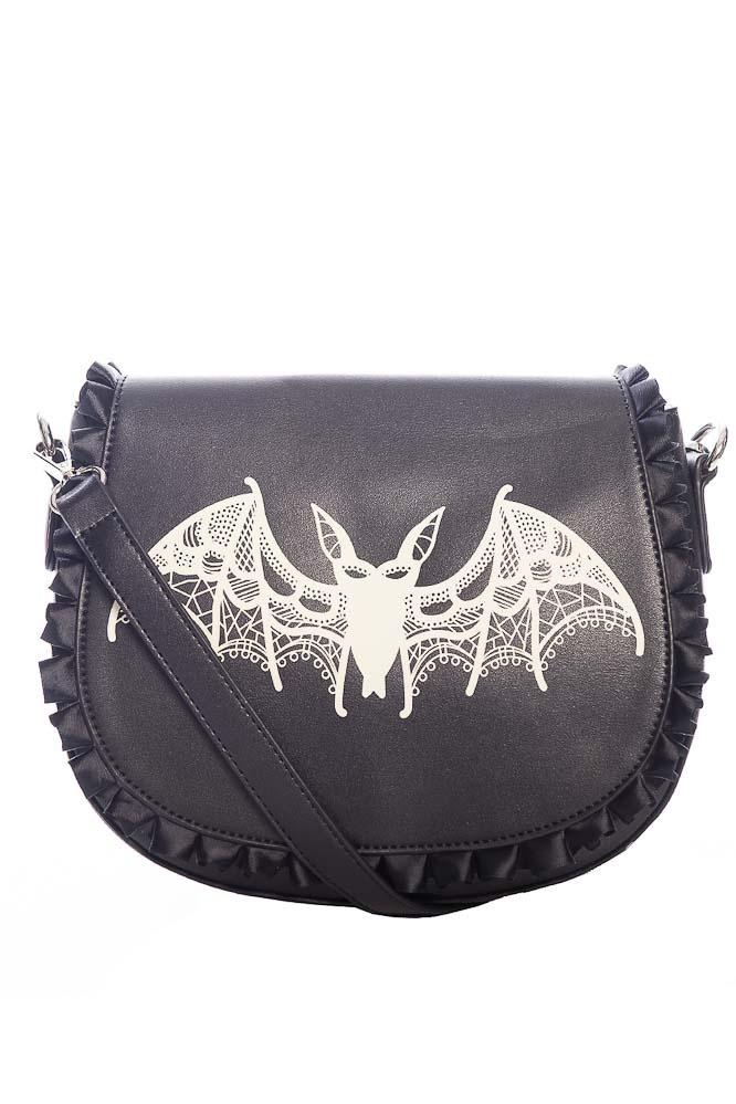 Banned | schoudertas Dragon Nymph, zwart met vleermuis opdruk