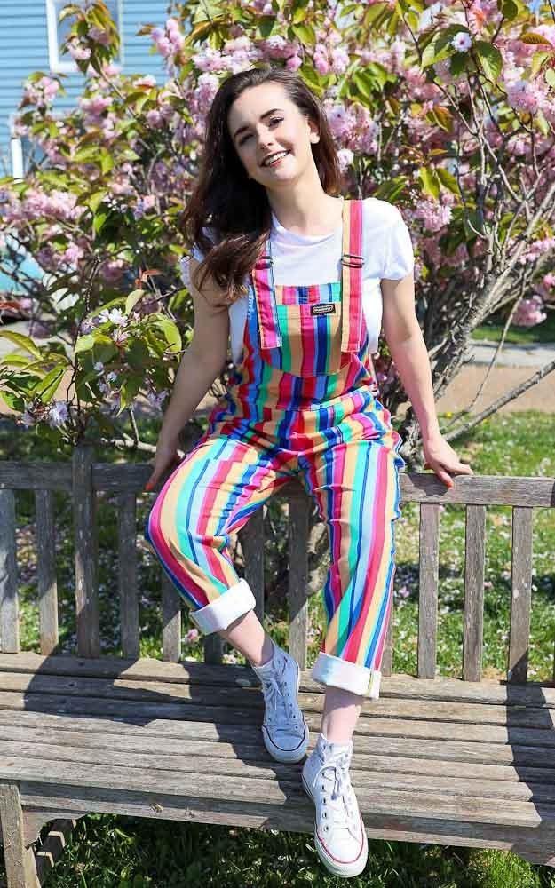 Tuinbroek Bright stripe rainbow twill, regenboog