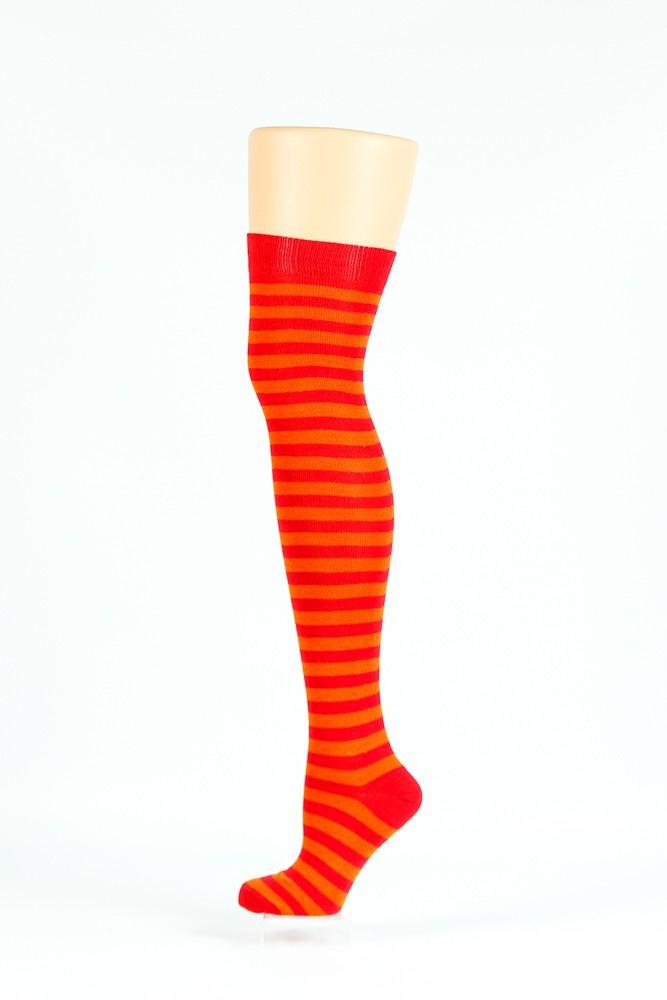 Flirt | Overknee sokken oranje rood gestreept