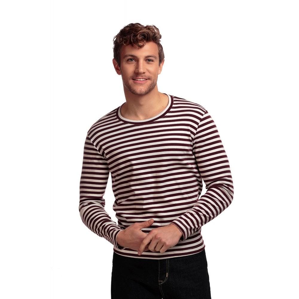 T-shirt met lange mouw gestreept, creme bordeaux