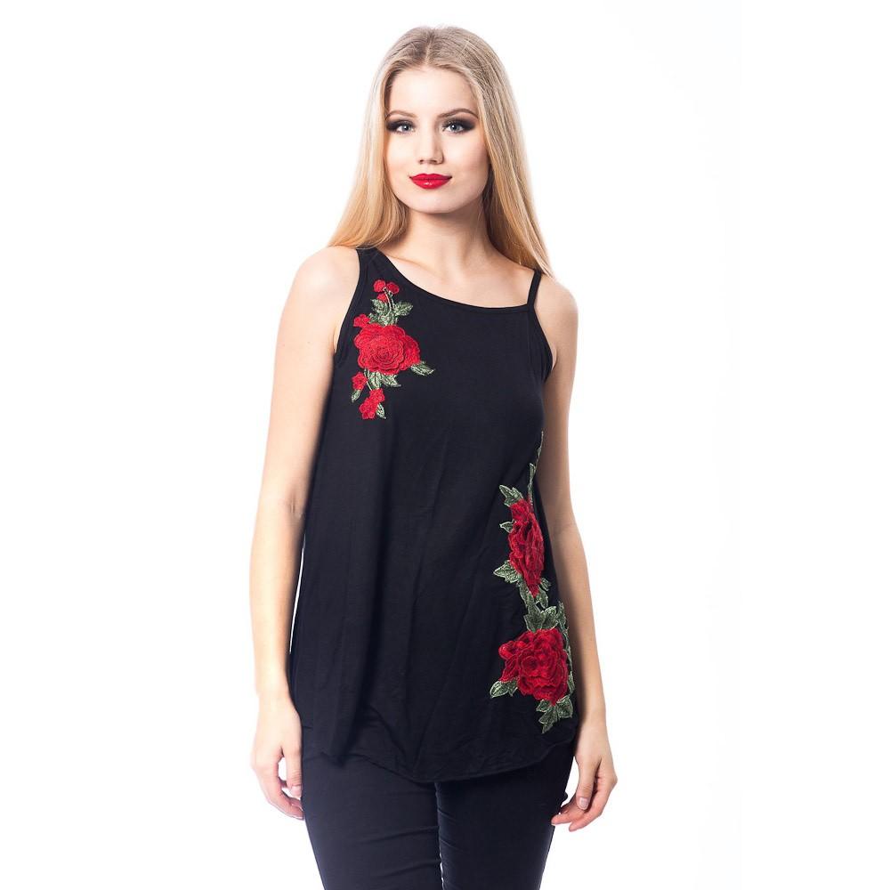 Tuniek Love Rose, zwart met rozen borduursel
