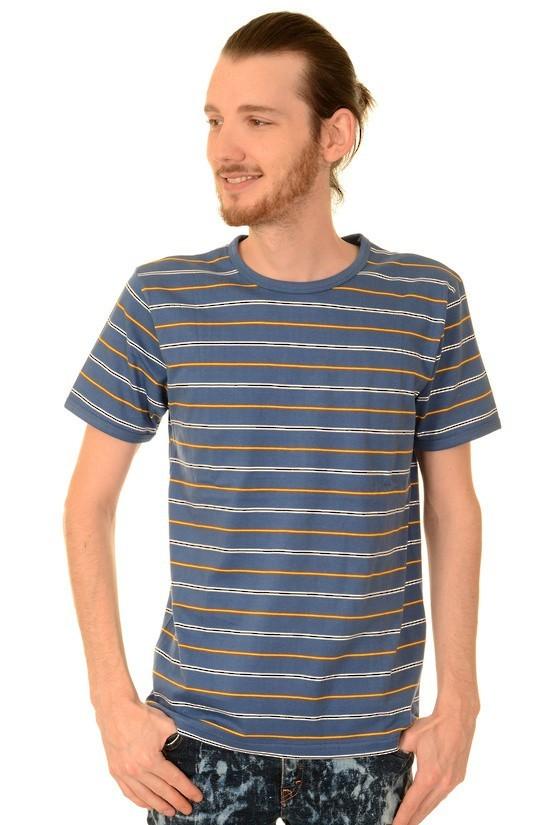 T-shirt, retro cobalt blauw gestreept