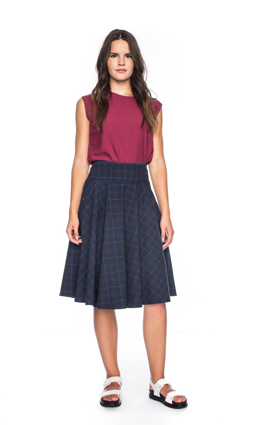 Rok Marta, blauw bruin geruit, lang en kort model