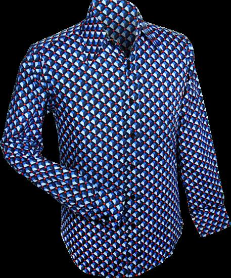 Overhemd retro, 3d grid blue
