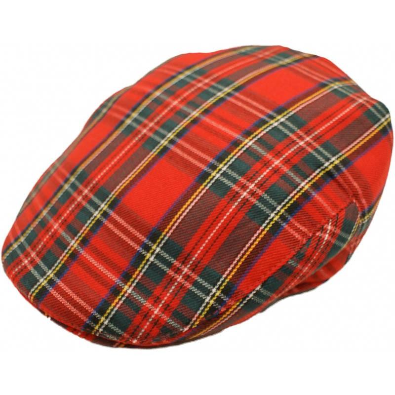 Platte pet, rode schotse tartan, flat cap