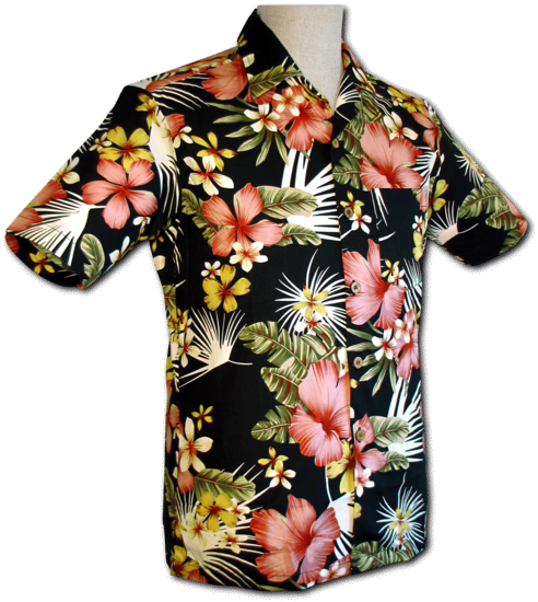 Overhemd korte mouw Jungle Flowers zwart