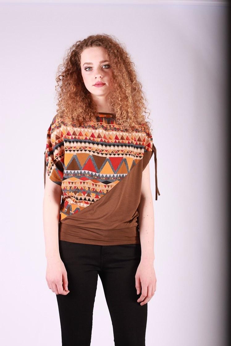 Shirt top Mona bruin oranje multicolour