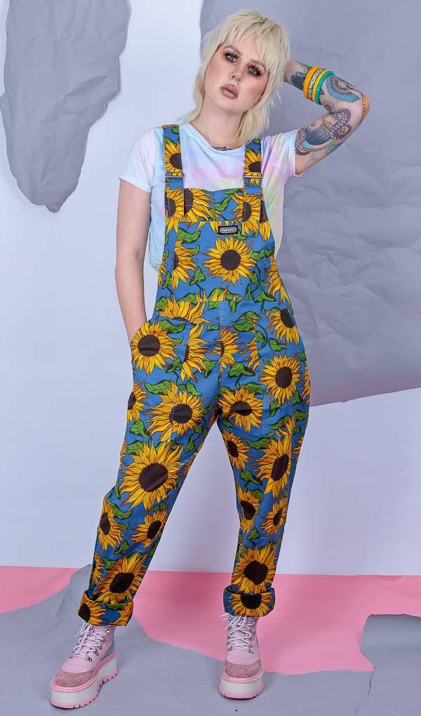 Run & Fly   Tuinbroek blauwe katoen met zonnebloemen print