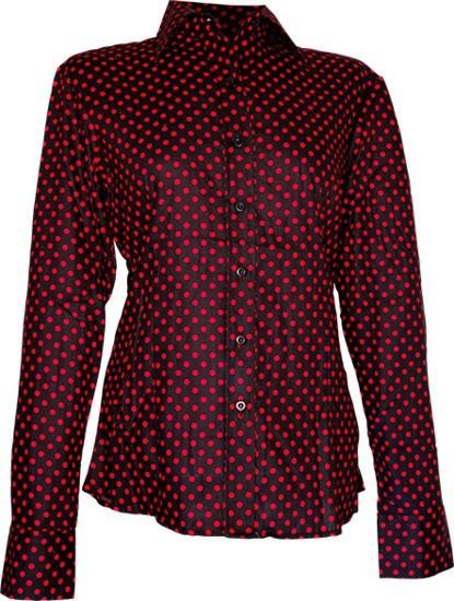 Chenaski   dames blouse Polka Dots, zwart rood