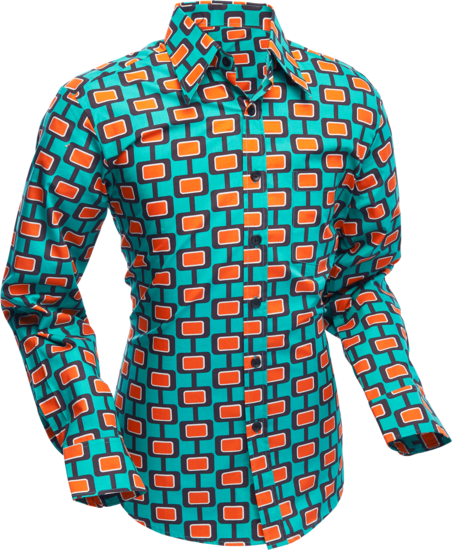 Overhemd Retro, Screens turquoise bordeaux