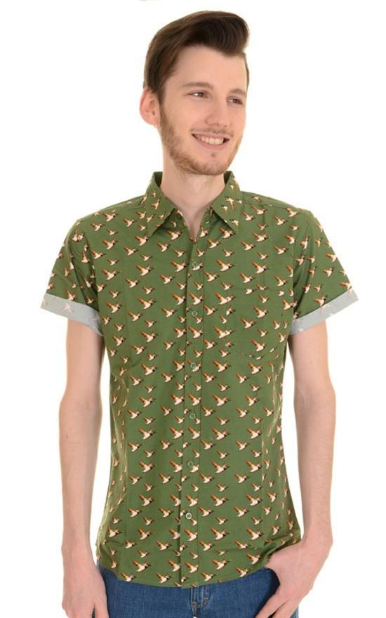 Overhemd korte mouw, flying duck groen