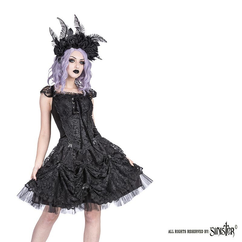 Sinister - Jurk Acantha kort, met satijn, tule en kant, zwart