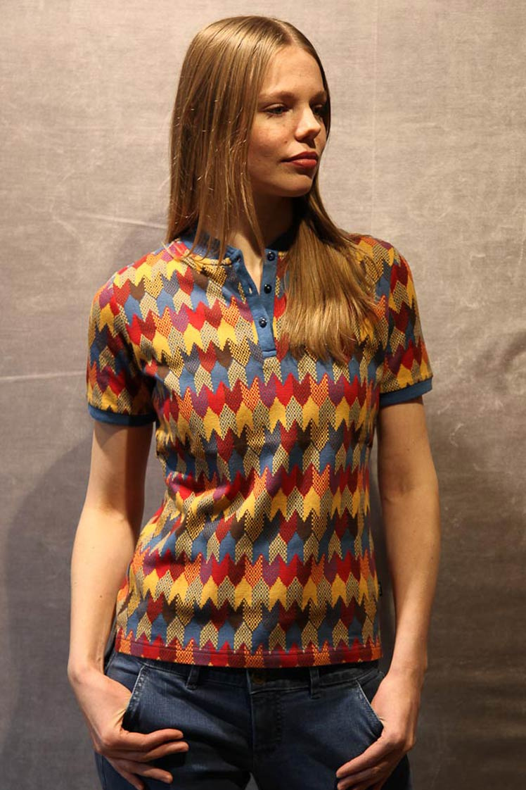 ATO Berlin | Polo Jette, jacquard patroon, rood multikleur