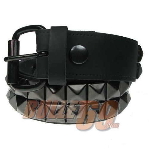 Leren riem, 38mm - zwart met twee rijen zwarte piramide studs -1,5mm