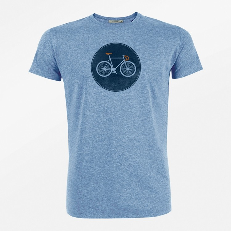 T-Shirt Bike shield heather blauw bio katoen
