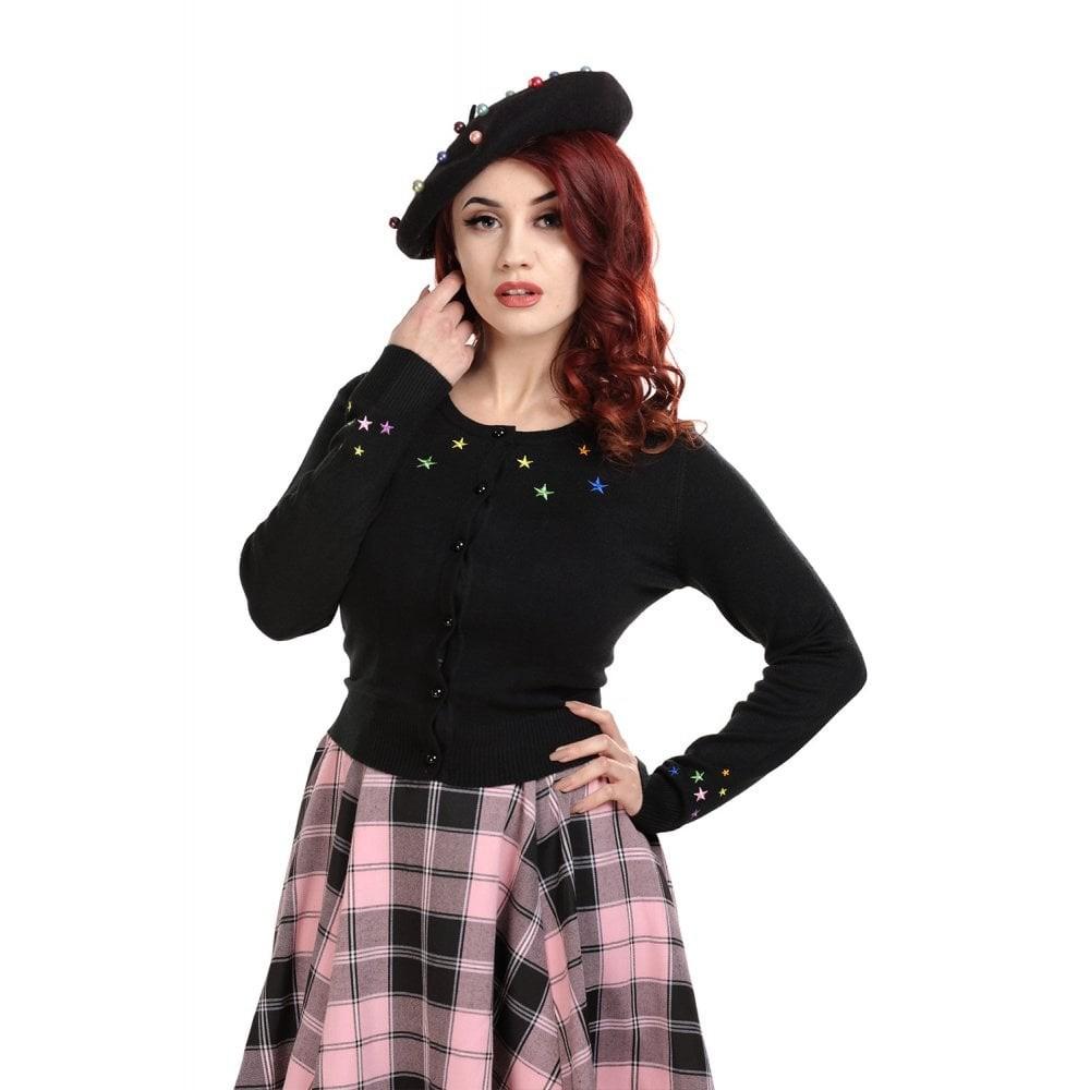 Cardigan Jessie, Rainbow Star, zwart met paarse knopen