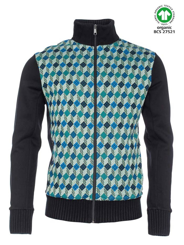 ATO Berlin, vest Toni jacquard patroon, groen blauw