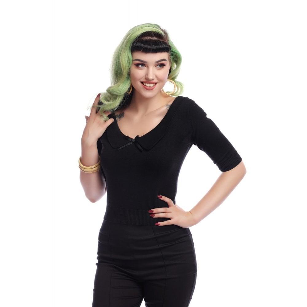 Truitje Babette, met wijde hals en strikje, zwart