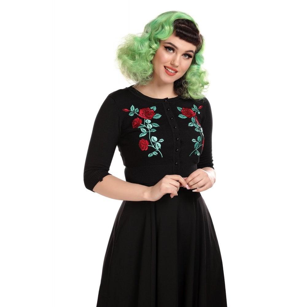 Cardigan Lucy, Dark Rose, zwart met rozen emroidery