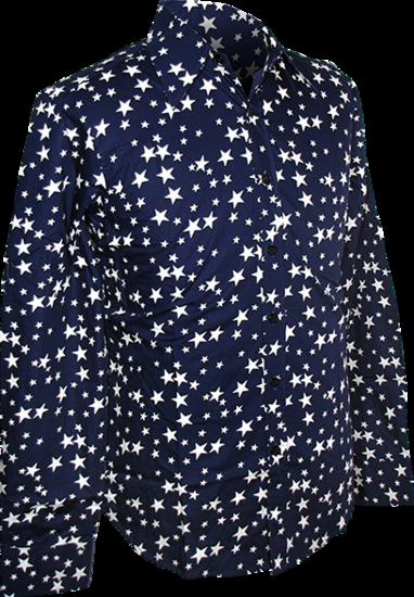 Overhemd Retro, stars navy blauw