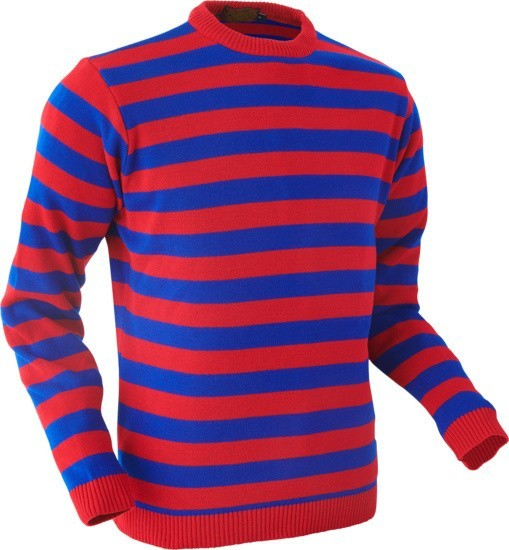Retro trui, rood blauw gestreept