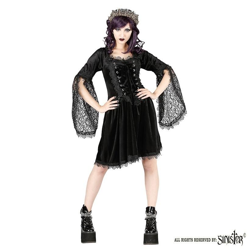 Jurk Ophelia, zwart fluweel met corset details en kanten mouwen