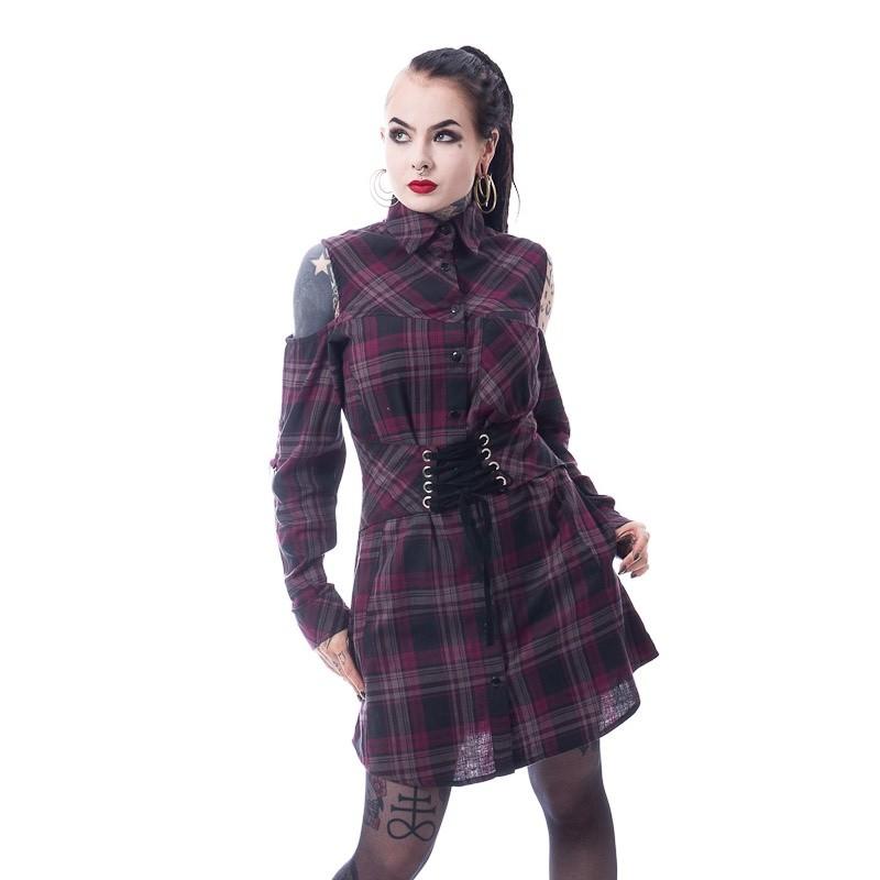Shirt Chase, paarse tartan, lang model met corset details