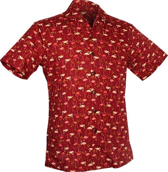 Chenaski | Overhemd korte mouw, Flamingo, bordeaux