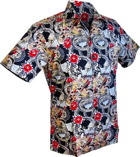 Overhemd korte mouw, Japanese tattoo style