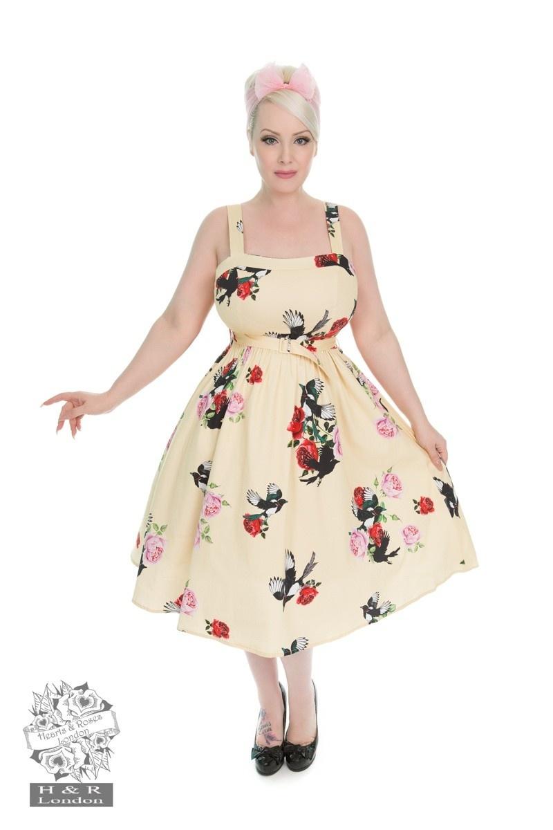Jurk yellow rose print swing dress