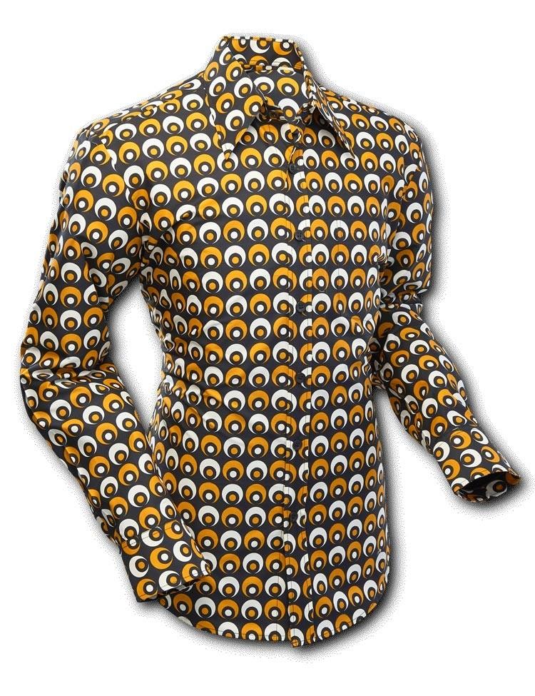 Overhemd seventies Retro Eyeball Creme Zwart Geel