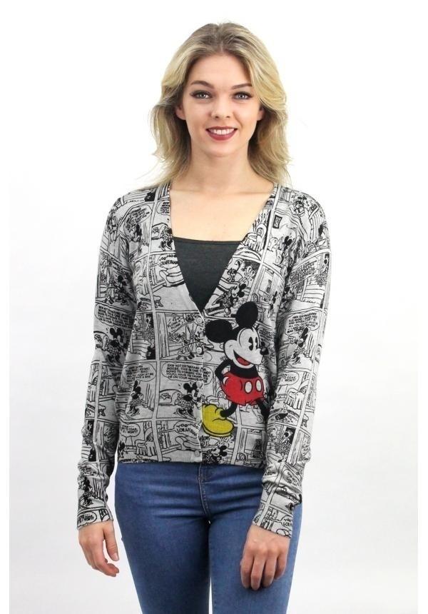 Cardigan grijs met Micky mouse print