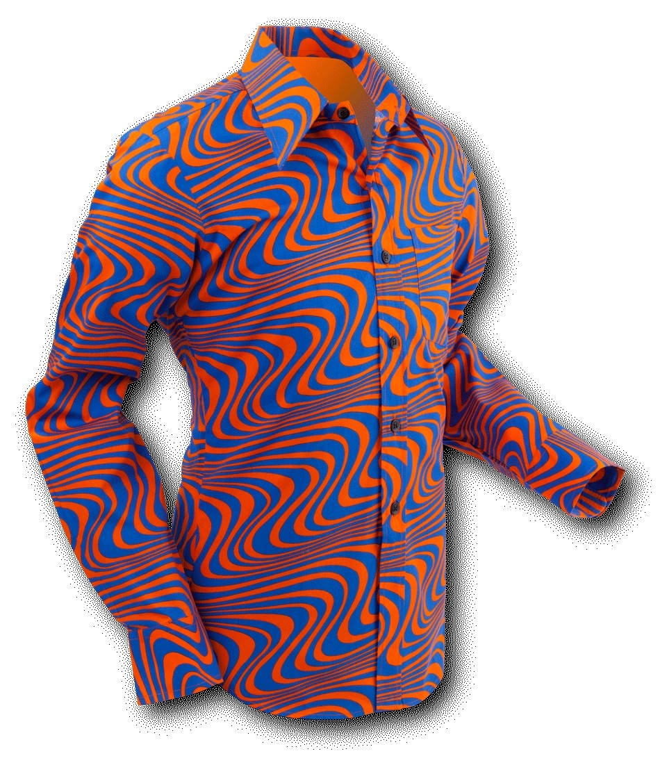 Chenaski | overhemd Seventies Wavyline Orange Blue