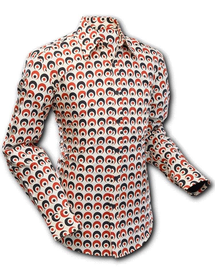 Overhemd Rood Zwart.Overhemd Seventies Retro Eyeball Creme Zwart Rood Chenaski