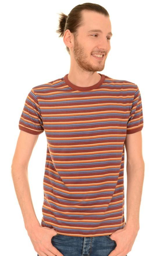 T-shirt, retro bordeaux blauw gestreept