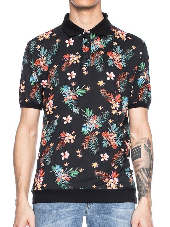 Polo Migo, zwart met tropische jungle bloemen print
