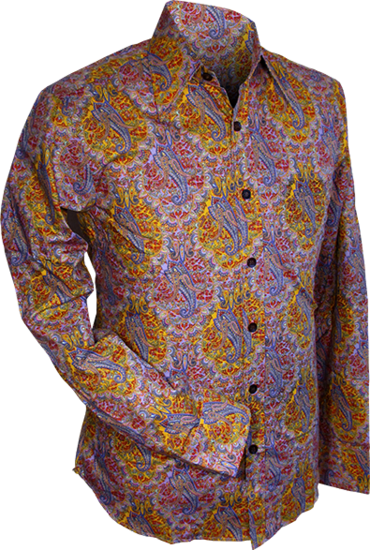 Overhemd retro Indian, paisley lilac yellow