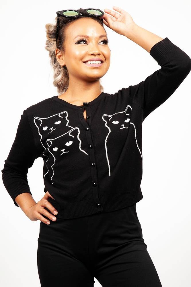 Cardigan Salem Grumpy Kitty, driekwart mouw, zwart