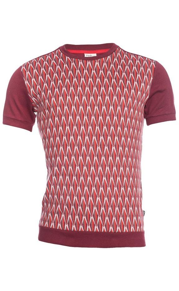 Ato Berlin, T-shirt Birk met bordeaux en grijs retro jacquard patroon, biokatoen