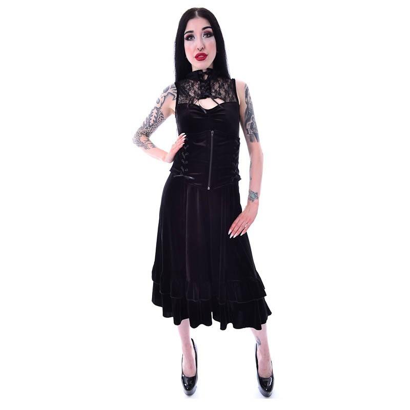 Jurk Nova, met kanten kraag, corset-detail en frill, zwart fluweel