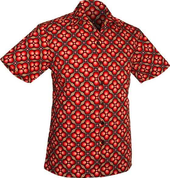 Chenaski | Overhemd korte mouw, Dotsgrid, black red